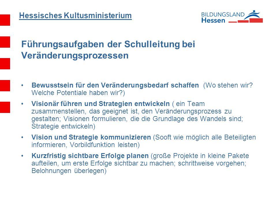 Hessisches Kultusministerium Bewusstsein für den Veränderungsbedarf schaffen (Wo stehen wir? Welche Potentiale haben wir?) Visionär führen und Strateg