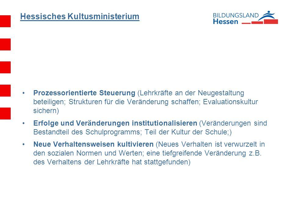 Hessisches Kultusministerium Prozessorientierte Steuerung (Lehrkräfte an der Neugestaltung beteiligen; Strukturen für die Veränderung schaffen; Evalua