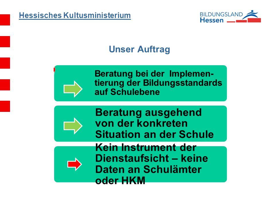 Hessisches Kultusministerium Unser Auftrag Beratung bei der Implemen- tierung der Bildungsstandards auf Schulebene Beratung ausgehend von der konkrete