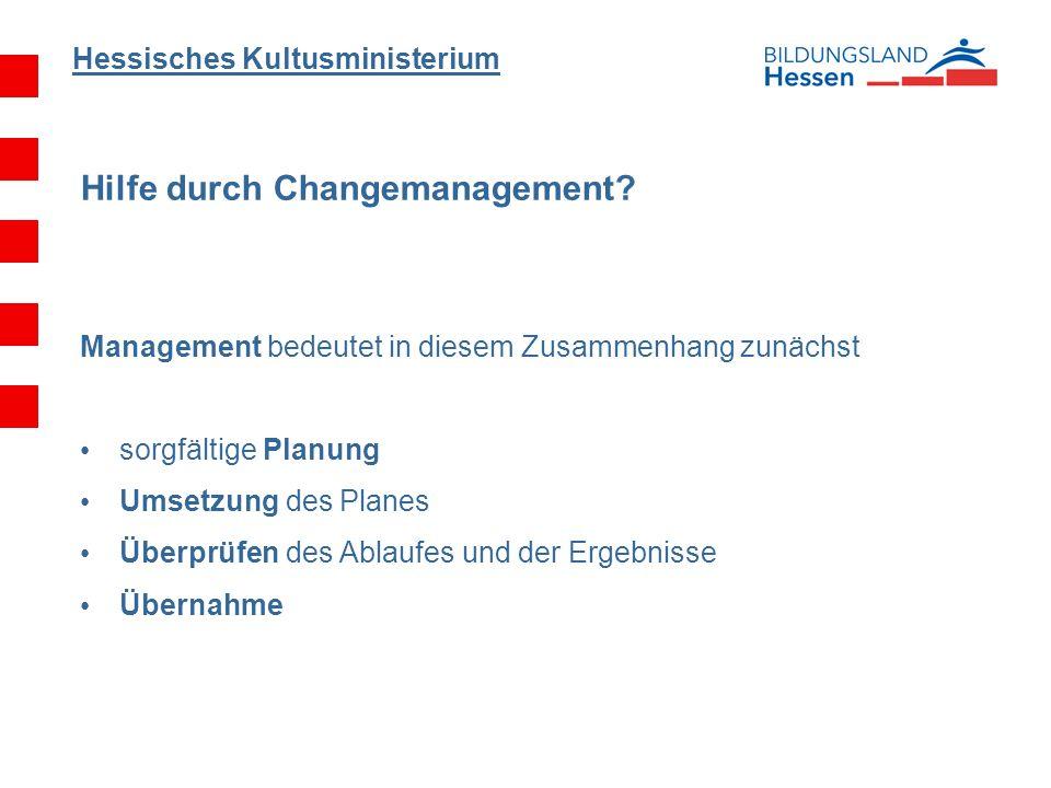 Hessisches Kultusministerium Hilfe durch Changemanagement? Management bedeutet in diesem Zusammenhang zunächst sorgfältige Planung Umsetzung des Plane