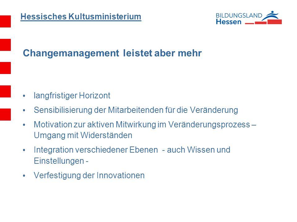 Hessisches Kultusministerium Changemanagement leistet aber mehr langfristiger Horizont Sensibilisierung der Mitarbeitenden für die Veränderung Motivat