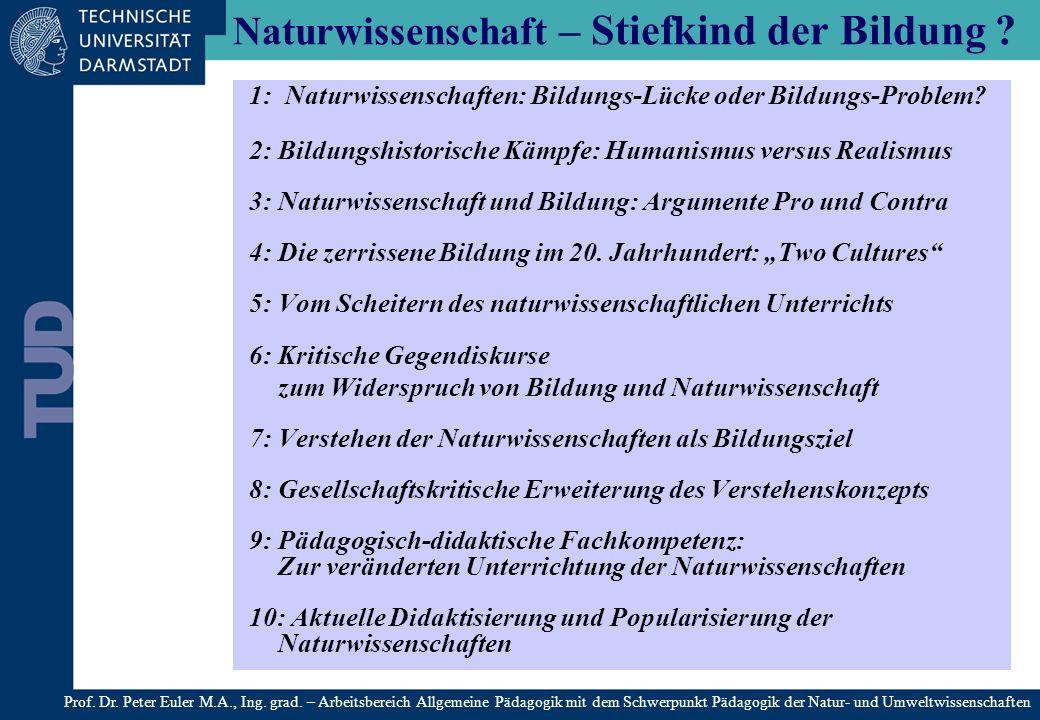Die Kontroverse der Bildungslager Pro Naturwissenschaft 1.Das Wahrheitsargument: sie (die naturwissenschaftlichen Fächer) machen uns mit allgemeingültigen Wahrheiten bekannt (Naturgesetze).
