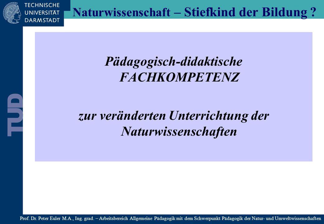 Pädagogisch-didaktische FACHKOMPETENZ zur veränderten Unterrichtung der Naturwissenschaften Naturwissenschaft – Stiefkind der Bildung ? 9: Prof. Dr. P