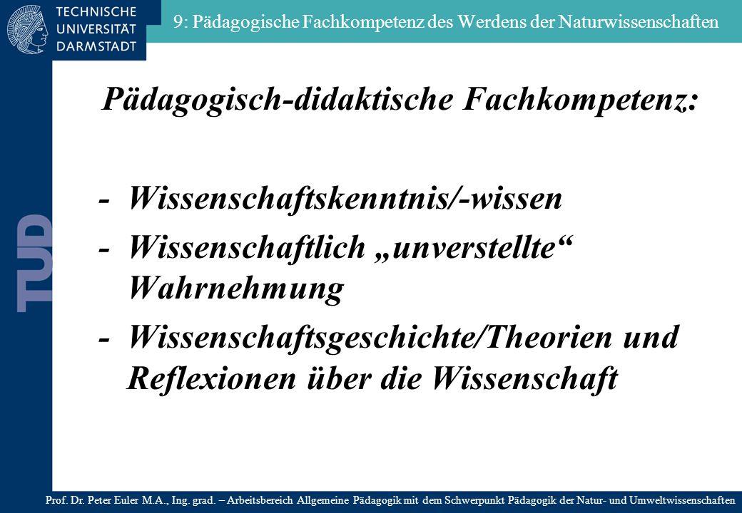 9: Pädagogische Fachkompetenz des Werdens der Naturwissenschaften Pädagogisch-didaktische Fachkompetenz: - Wissenschaftskenntnis/-wissen - Wissenschaf