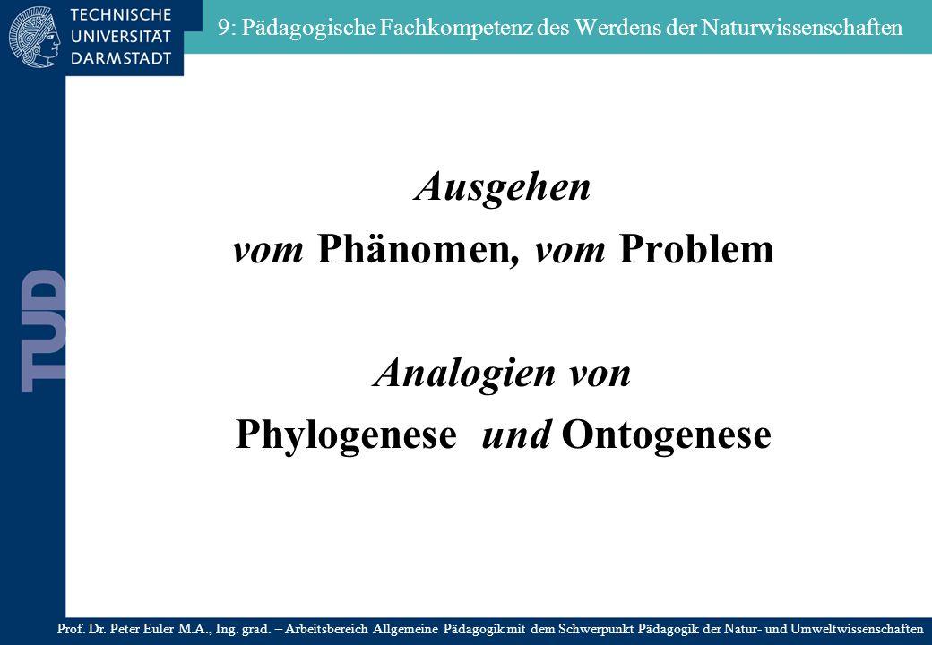 9: Pädagogische Fachkompetenz des Werdens der Naturwissenschaften Ausgehen vom Phänomen, vom Problem Analogien von Phylogenese und Ontogenese Prof. Dr