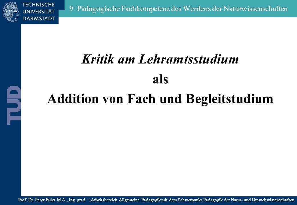 9: Pädagogische Fachkompetenz des Werdens der Naturwissenschaften Kritik am Lehramtsstudium als Addition von Fach und Begleitstudium Prof. Dr. Peter E