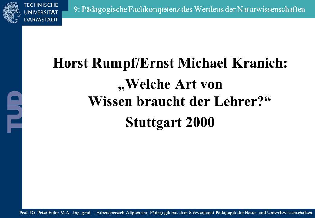9: Pädagogische Fachkompetenz des Werdens der Naturwissenschaften Horst Rumpf/Ernst Michael Kranich: Welche Art von Wissen braucht der Lehrer? Stuttga