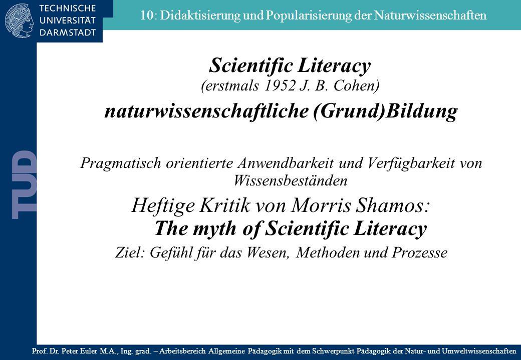 Scientific Literacy (erstmals 1952 J. B. Cohen) naturwissenschaftliche (Grund)Bildung Pragmatisch orientierte Anwendbarkeit und Verfügbarkeit von Wiss