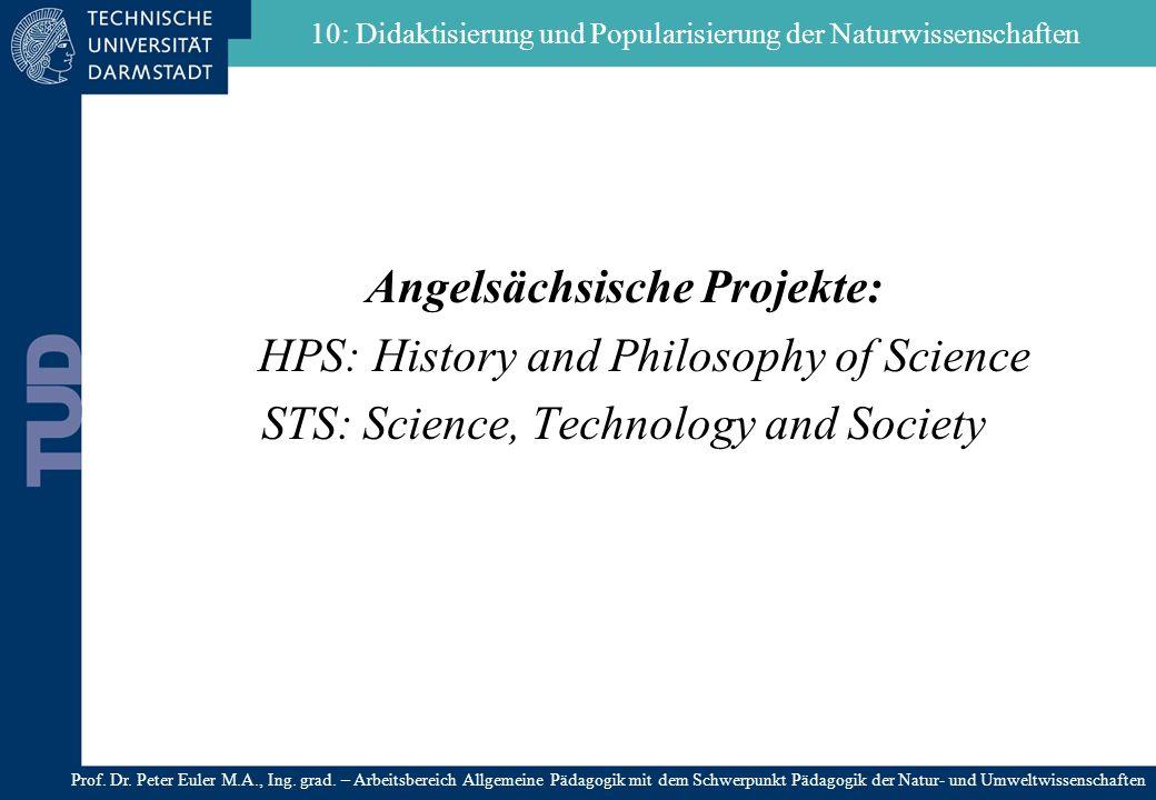 Angelsächsische Projekte: HPS: History and Philosophy of Science STS: Science, Technology and Society 10: Didaktisierung und Popularisierung der Natur