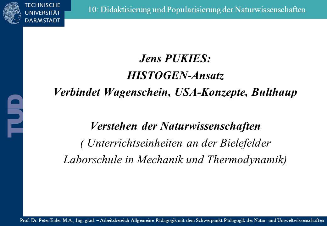 Jens PUKIES: HISTOGEN-Ansatz Verbindet Wagenschein, USA-Konzepte, Bulthaup Verstehen der Naturwissenschaften ( Unterrichtseinheiten an der Bielefelder
