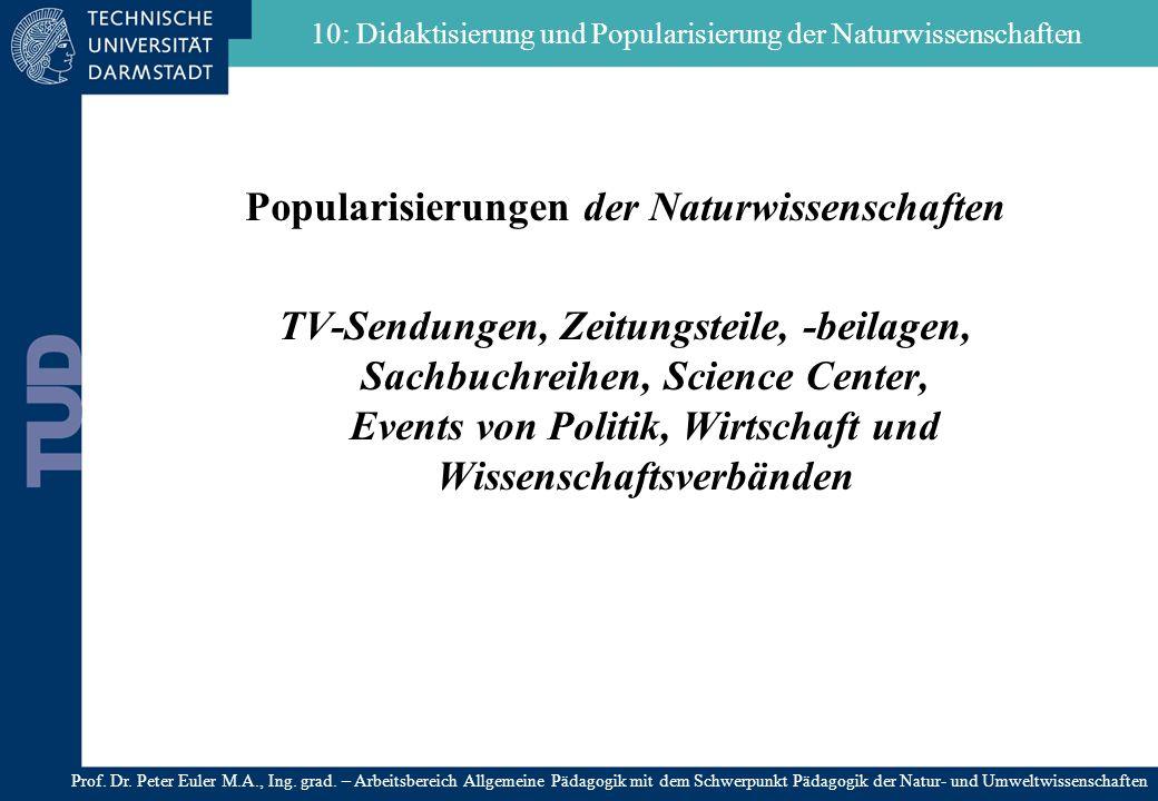 Popularisierungen der Naturwissenschaften TV-Sendungen, Zeitungsteile, -beilagen, Sachbuchreihen, Science Center, Events von Politik, Wirtschaft und W