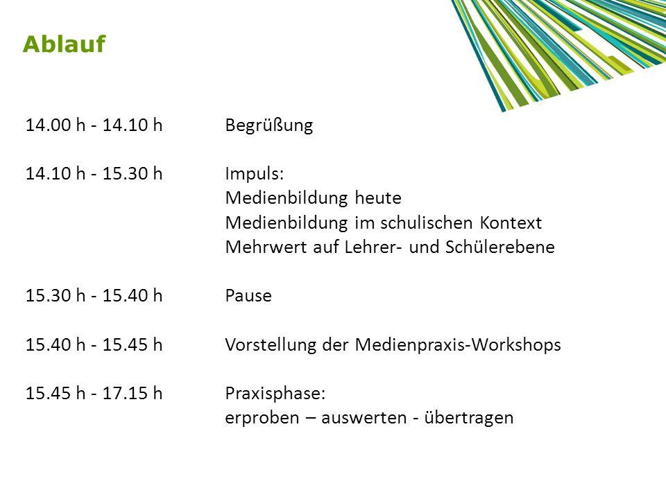 Ablauf 17.15 h – 17.25 h Pause 17.25 h – 17.40 hPräsentation der Ergebnisse 17.40 h – 18.00 hAbschlussreflexion: Wie lässt sich das Erfahrene im Unterricht einbinden.