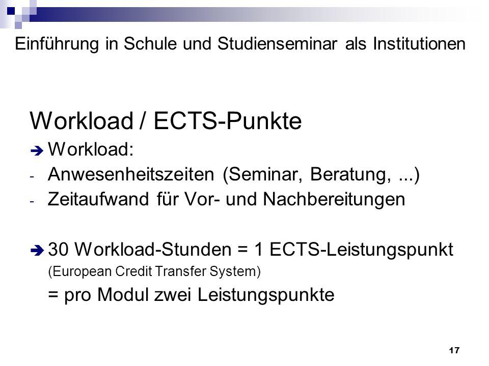 17 Einführung in Schule und Studienseminar als Institutionen Workload / ECTS-Punkte Workload: - Anwesenheitszeiten (Seminar, Beratung,...) - Zeitaufwa