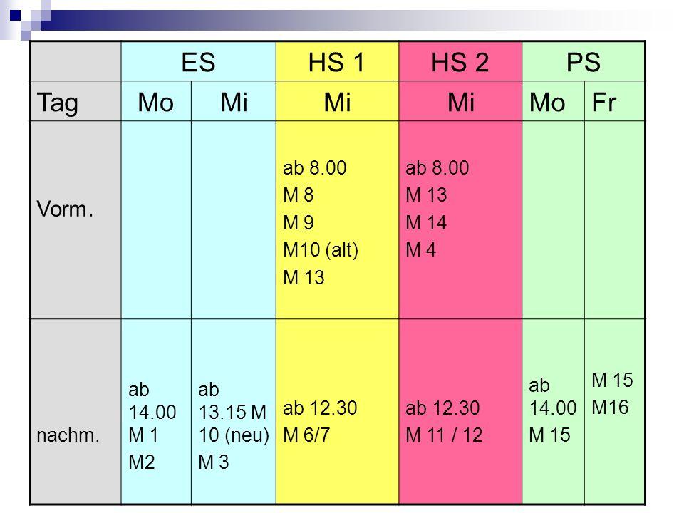 19 ESHS 1HS 2PS TagMoMi MoFr Vorm. ab 8.00 M 8 M 9 M10 (alt) M 13 ab 8.00 M 13 M 14 M 4 nachm. ab 14.00 M 1 M2 ab 13.15 M 10 (neu) M 3 ab 12.30 M 6/7