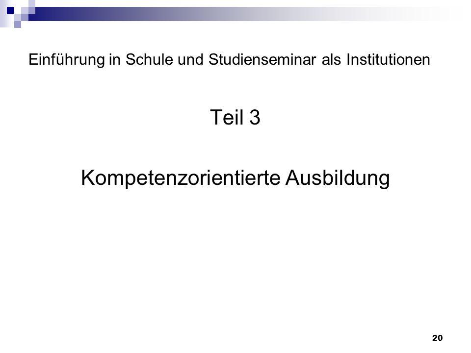 20 Einführung in Schule und Studienseminar als Institutionen Teil 3 Kompetenzorientierte Ausbildung