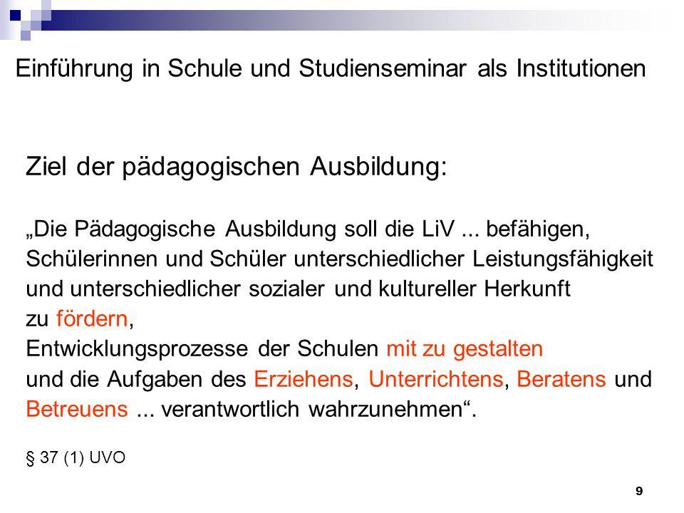 9 Einführung in Schule und Studienseminar als Institutionen Ziel der pädagogischen Ausbildung: Die Pädagogische Ausbildung soll die LiV... befähigen,