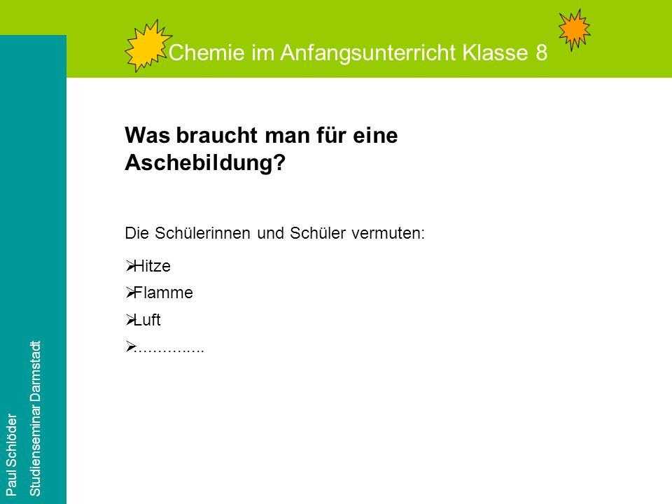 Chemie im Anfangsunterricht Klasse 8 Paul Schlöder Studienseminar Darmstadt Versuch 3: Wir erhitzen Kupfer und Gold!