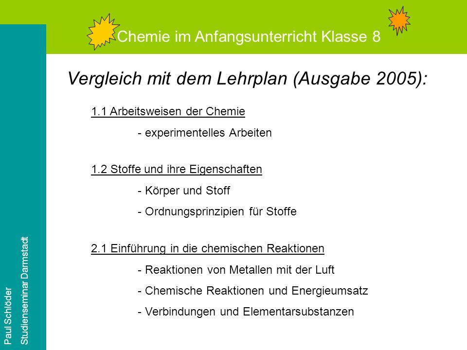 Chemie im Anfangsunterricht Klasse 8 Paul Schlöder Studienseminar Darmstadt Was lernen die Schüler.