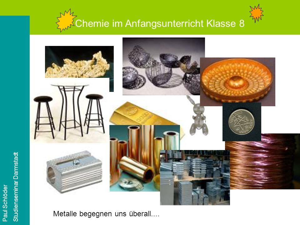 Chemie im Anfangsunterricht Klasse 8 Paul Schlöder Studienseminar Darmstadt Metalle begegnen uns überall....