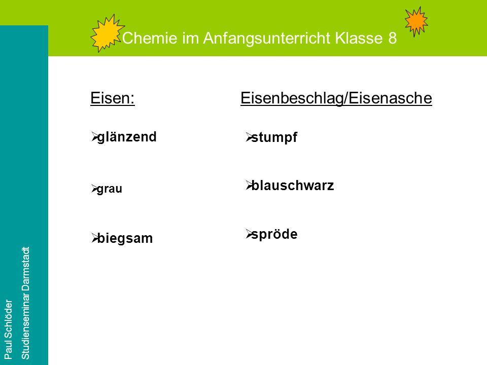 Chemie im Anfangsunterricht Klasse 8 Paul Schlöder Studienseminar Darmstadt Versuch 1: Wir erhitzen Eisen!