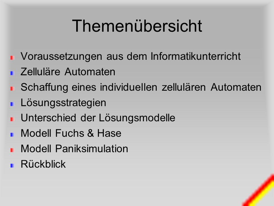 Themenübersicht Voraussetzungen aus dem Informatikunterricht Zelluläre Automaten Schaffung eines individuellen zellulären Automaten Lösungsstrategien