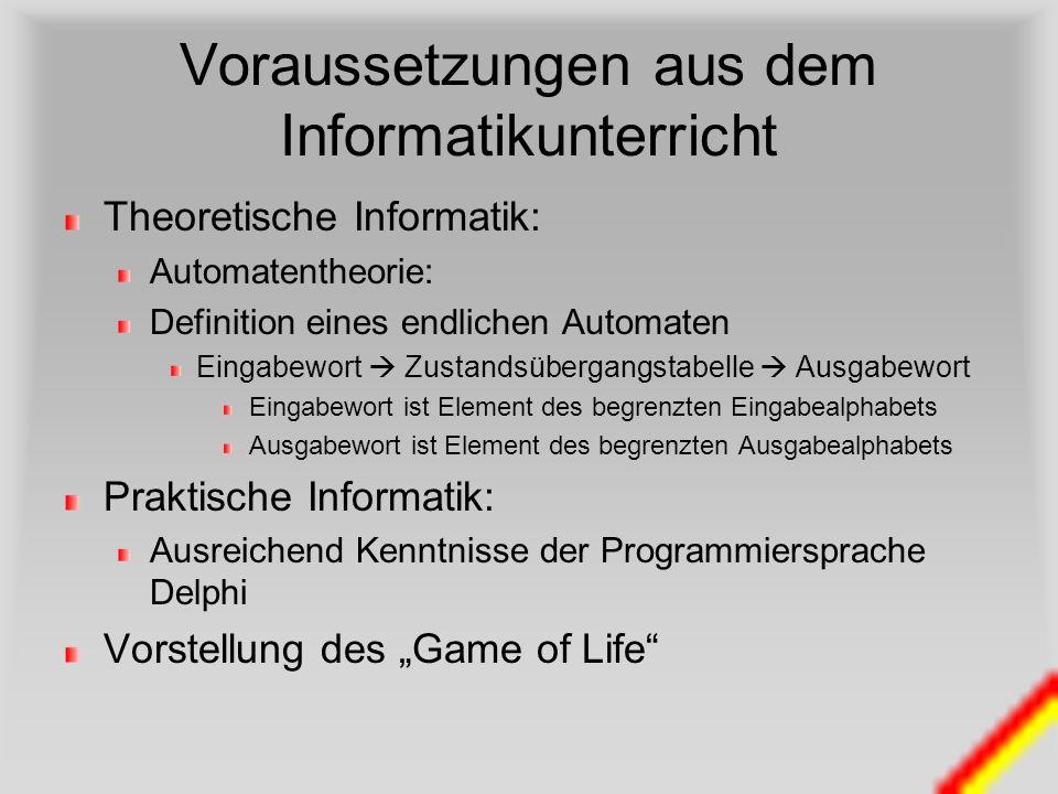 Voraussetzungen aus dem Informatikunterricht Theoretische Informatik: Automatentheorie: Definition eines endlichen Automaten Eingabewort Zustandsüberg