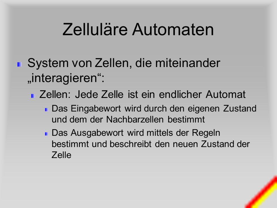 Zelluläre Automaten System von Zellen, die miteinander interagieren: Zellen: Jede Zelle ist ein endlicher Automat Das Eingabewort wird durch den eigen