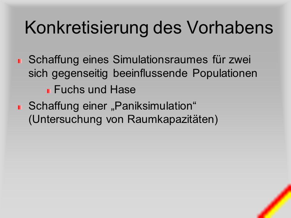 Konkretisierung des Vorhabens Schaffung eines Simulationsraumes für zwei sich gegenseitig beeinflussende Populationen Fuchs und Hase Schaffung einer P