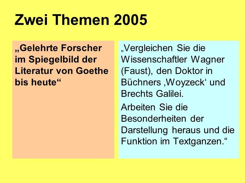 Zwei Themen 2005 Gelehrte Forscher im Spiegelbild der Literatur von Goethe bis heute Vergleichen Sie die Wissenschaftler Wagner (Faust), den Doktor in