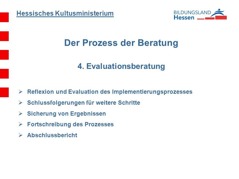 Hessisches Kultusministerium Der Prozess der Beratung 4. Evaluationsberatung Reflexion und Evaluation des Implementierungsprozesses Schlussfolgerungen