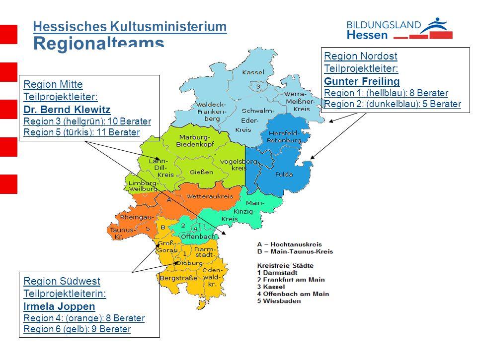 Hessisches Kultusministerium Regionalteams Region Mitte Teilprojektleiter: Dr. Bernd Klewitz Region 3 (hellgrün): 10 Berater Region 5 (türkis): 11 Ber