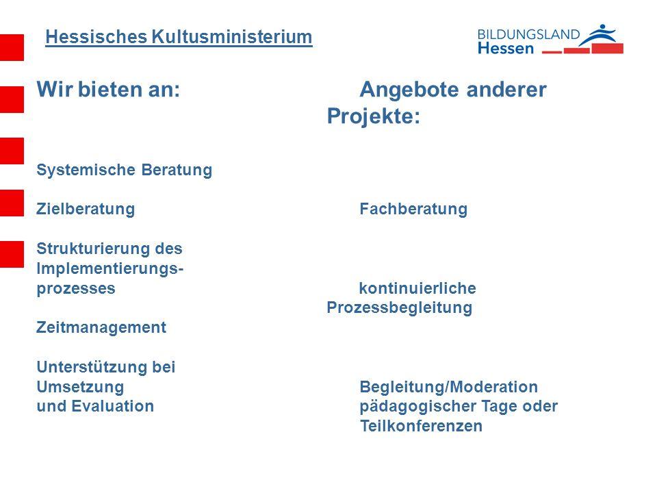 Hessisches Kultusministerium Wir bieten an:Angebote anderer Projekte: Systemische Beratung Zielberatung Fachberatung Strukturierung des Implementierun