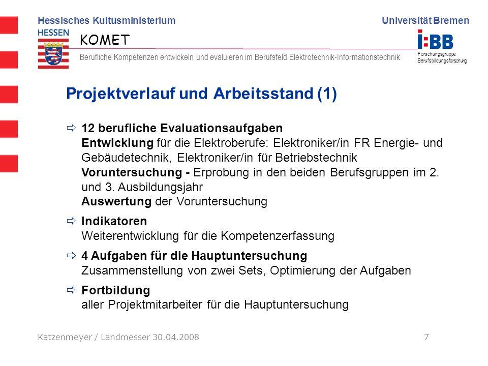 Hessisches Kultusministerium Universität Bremen KOMET Berufliche Kompetenzen entwickeln und evaluieren im Berufsfeld Elektrotechnik-Informationstechni