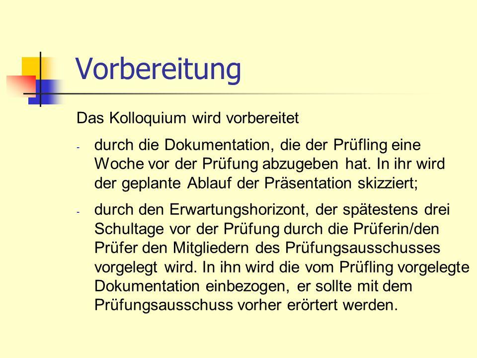 Durchführung Das Kolloquium findet anschließend an die Präsentation statt.