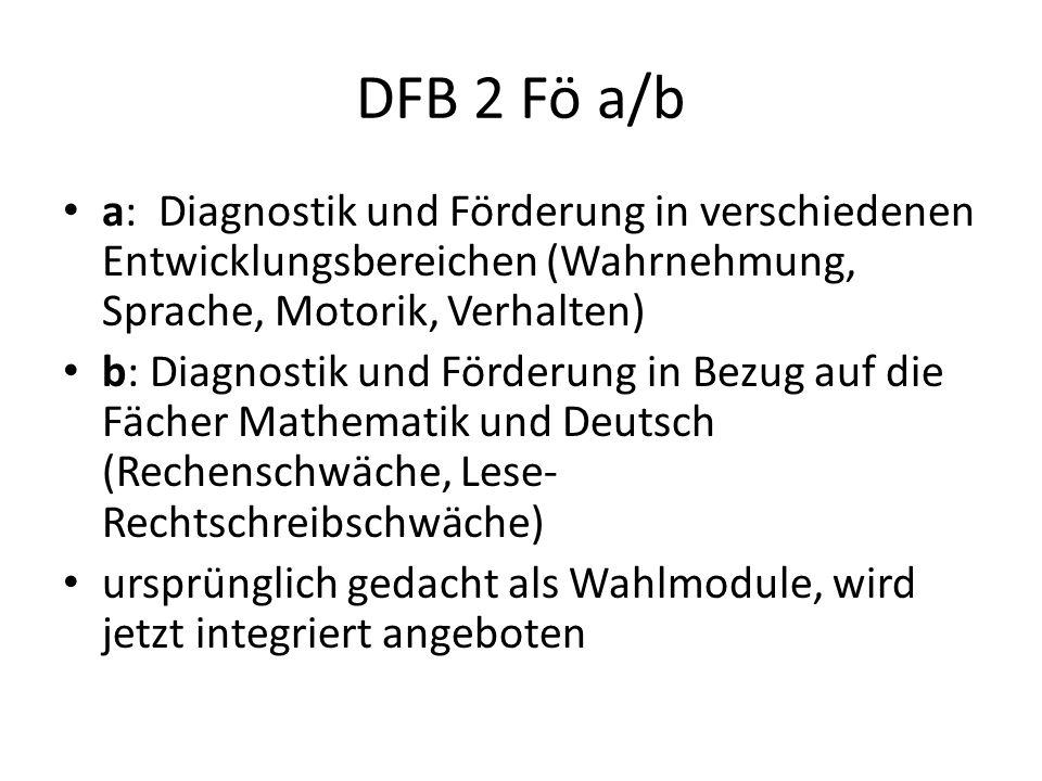 DFB 2 Fö a/b a: Diagnostik und Förderung in verschiedenen Entwicklungsbereichen (Wahrnehmung, Sprache, Motorik, Verhalten) b: Diagnostik und Förderung