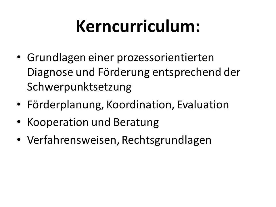 Kerncurriculum: Grundlagen einer prozessorientierten Diagnose und Förderung entsprechend der Schwerpunktsetzung Förderplanung, Koordination, Evaluatio