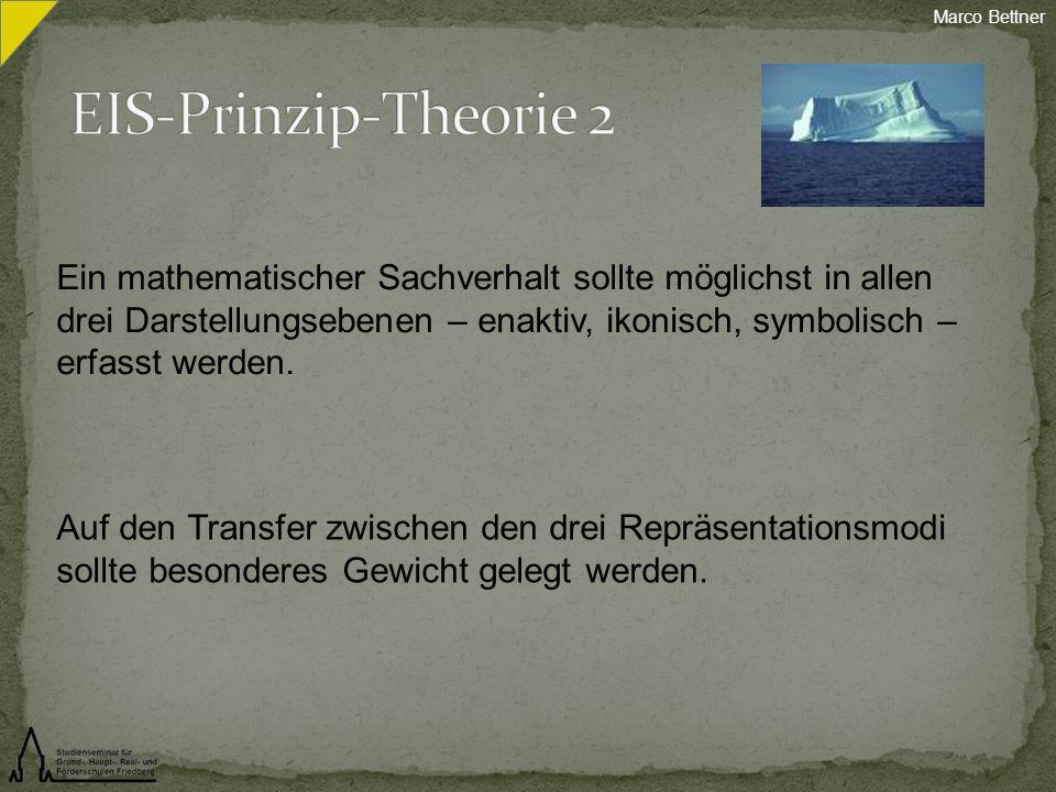 Ein mathematischer Sachverhalt sollte möglichst in allen drei Darstellungsebenen – enaktiv, ikonisch, symbolisch – erfasst werden. Auf den Transfer zw