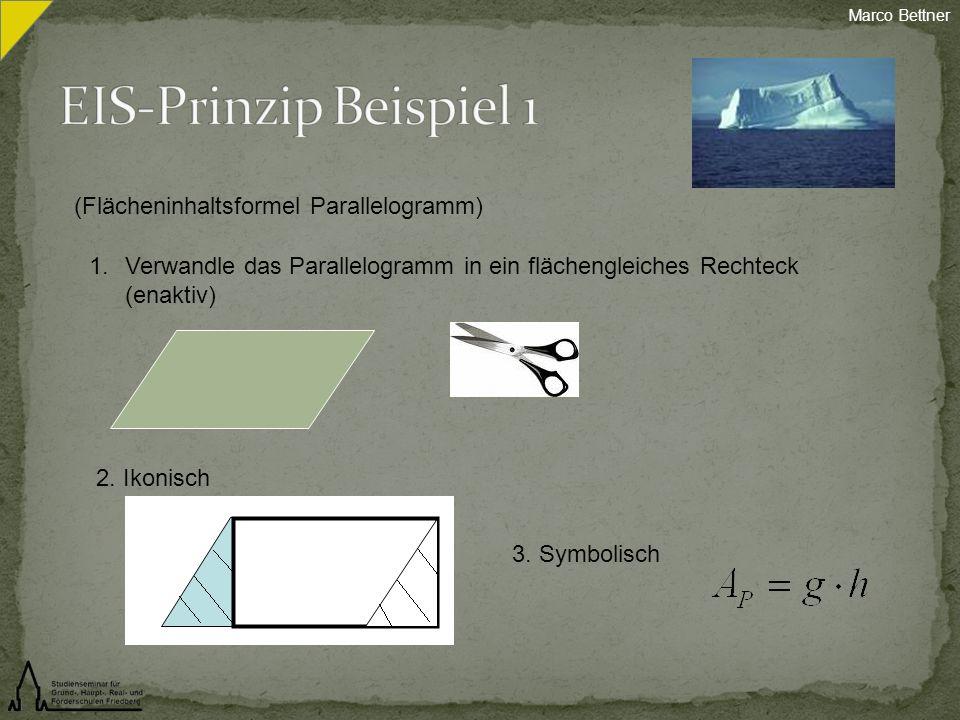 (Flächeninhaltsformel Parallelogramm) 1.Verwandle das Parallelogramm in ein flächengleiches Rechteck (enaktiv) 2. Ikonisch 3. Symbolisch Marco Bettner