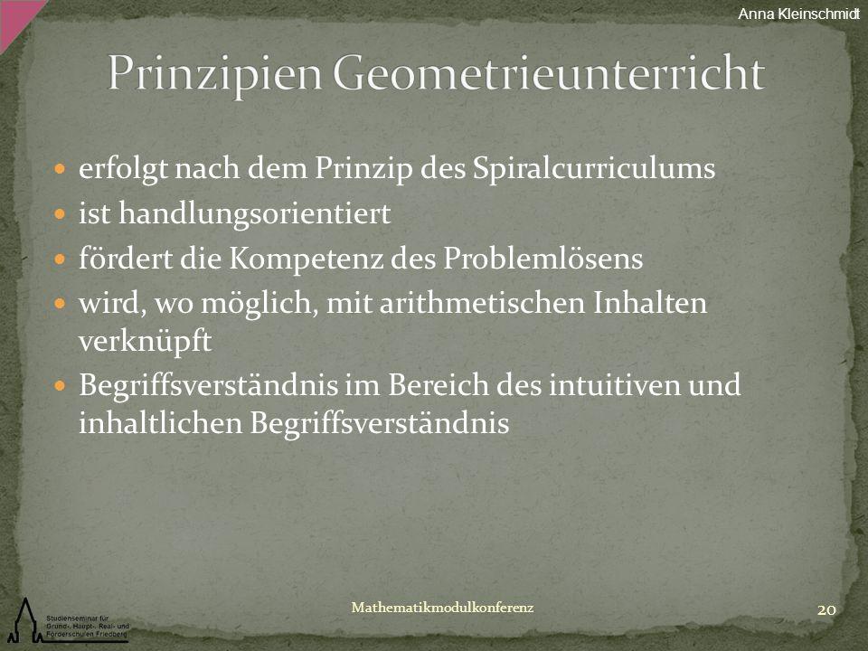 erfolgt nach dem Prinzip des Spiralcurriculums ist handlungsorientiert fördert die Kompetenz des Problemlösens wird, wo möglich, mit arithmetischen In