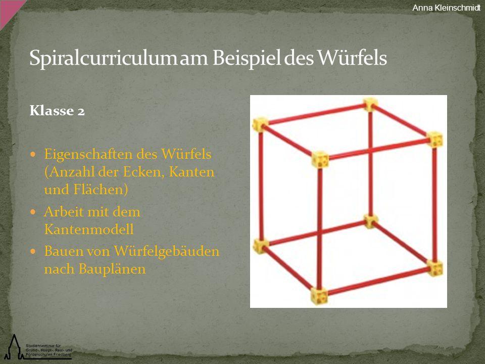 Klasse 2 Eigenschaften des Würfels (Anzahl der Ecken, Kanten und Flächen) Arbeit mit dem Kantenmodell Bauen von Würfelgebäuden nach Bauplänen Anna Kle