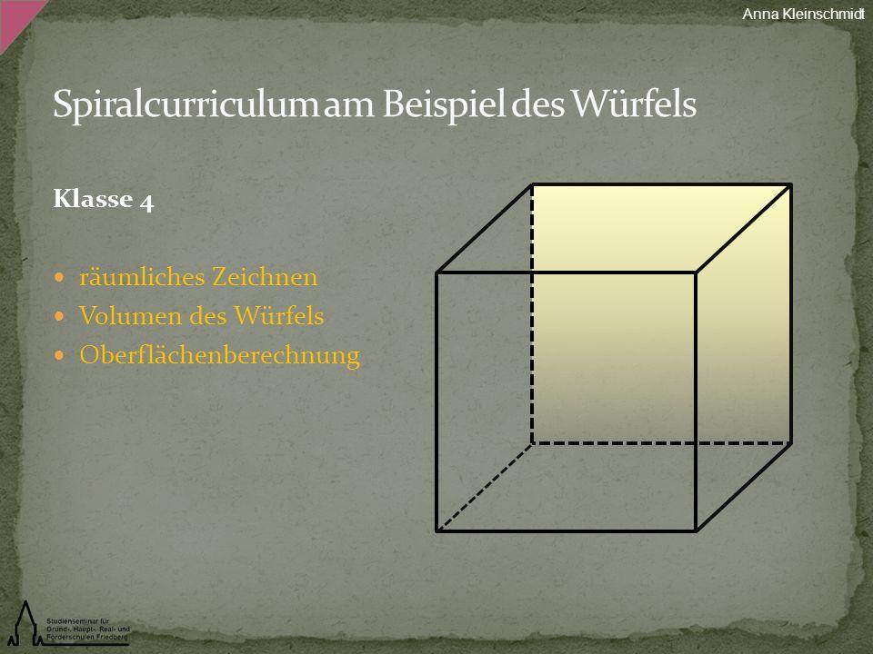 Klasse 4 räumliches Zeichnen Volumen des Würfels Oberflächenberechnung Anna Kleinschmidt