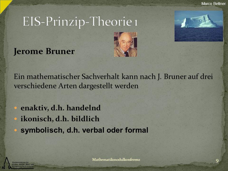 Jerome Bruner Ein mathematischer Sachverhalt kann nach J. Bruner auf drei verschiedene Arten dargestellt werden enaktiv, d.h. handelnd ikonisch, d.h.