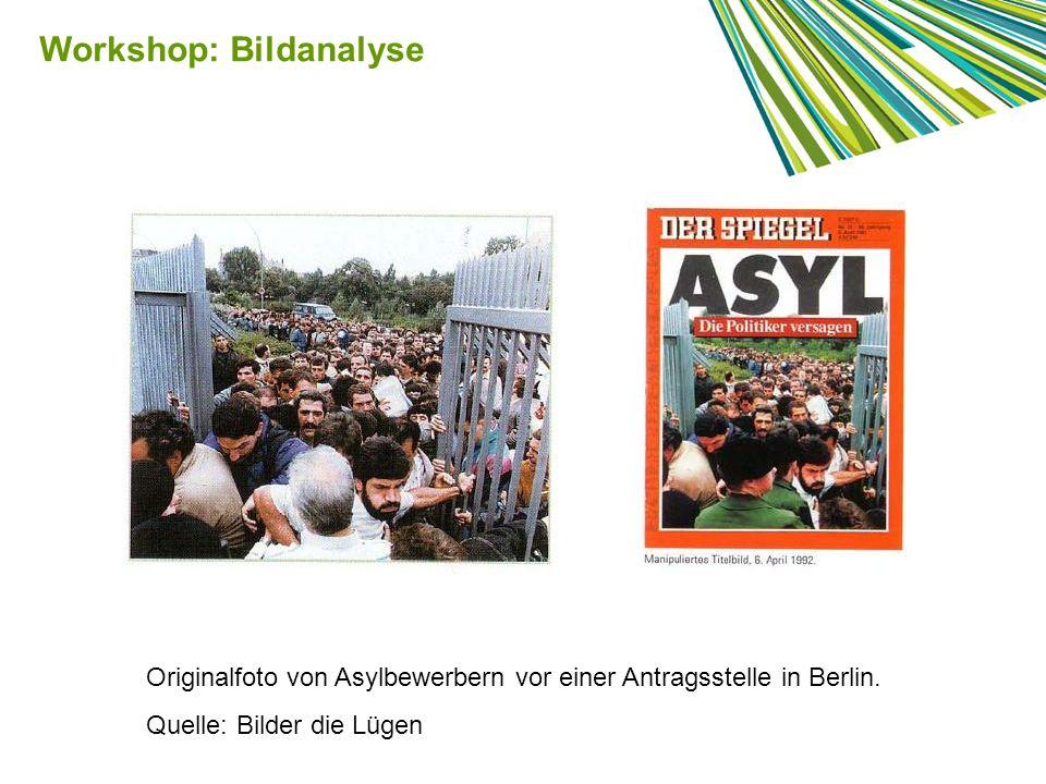 Originalfoto von Asylbewerbern vor einer Antragsstelle in Berlin. Quelle: Bilder die Lügen Workshop: Bildanalyse