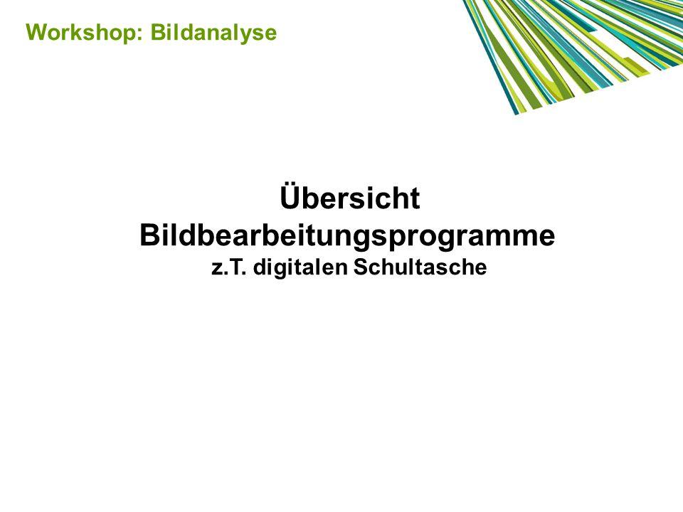 Übersicht Bildbearbeitungsprogramme z.T. digitalen Schultasche Workshop: Bildanalyse