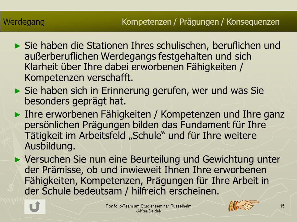 Portfolio-Team am Studienseminar Rüsselheim -Alfter/Seidel- 15 WerdegangKompetenzen / Prägungen / Konsequenzen Sie haben die Stationen Ihres schulisch