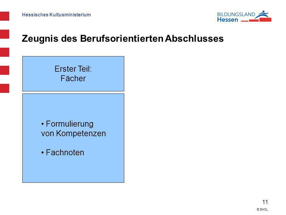 Hessisches Kultusministerium 11 © BASL Zeugnis des Berufsorientierten Abschlusses Erster Teil: Fächer Formulierung von Kompetenzen Fachnoten