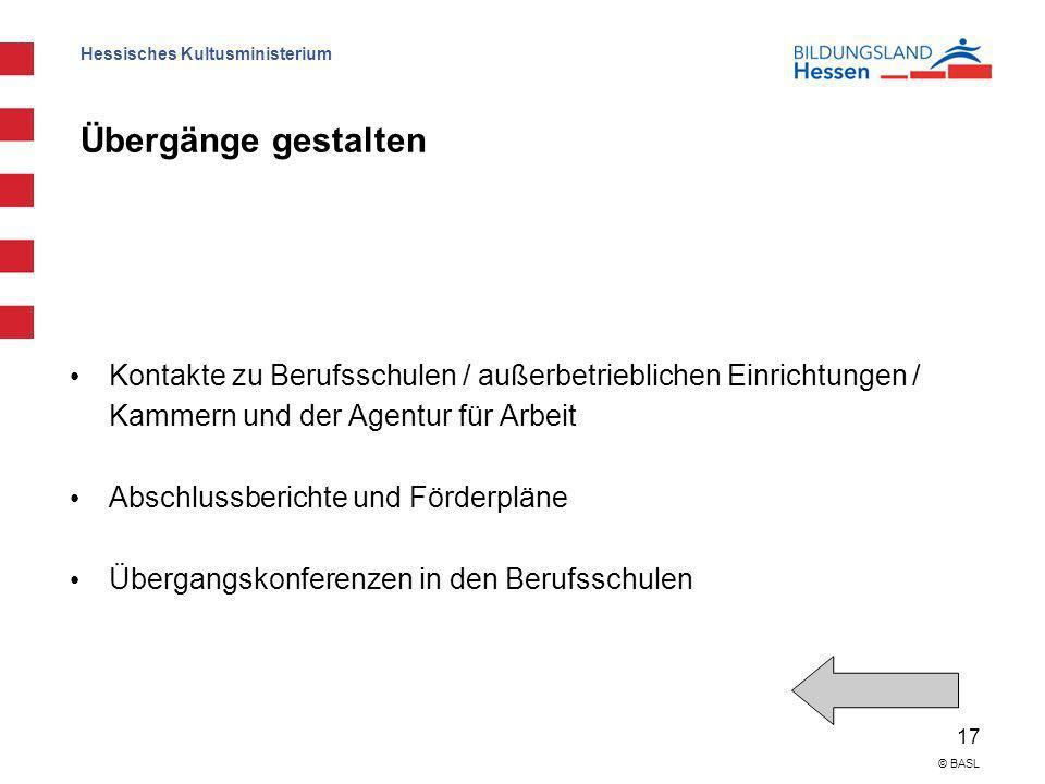 Hessisches Kultusministerium 17 © BASL Übergänge gestalten Kontakte zu Berufsschulen / außerbetrieblichen Einrichtungen / Kammern und der Agentur für
