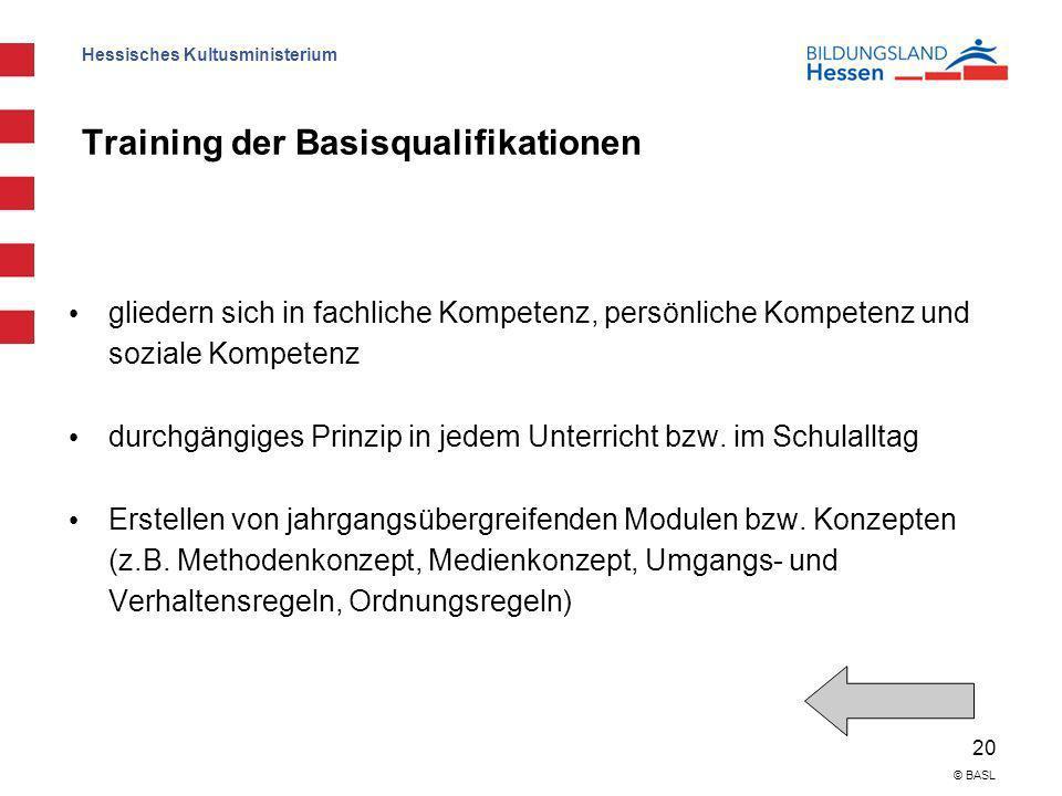 Hessisches Kultusministerium 20 © BASL Training der Basisqualifikationen gliedern sich in fachliche Kompetenz, persönliche Kompetenz und soziale Kompe