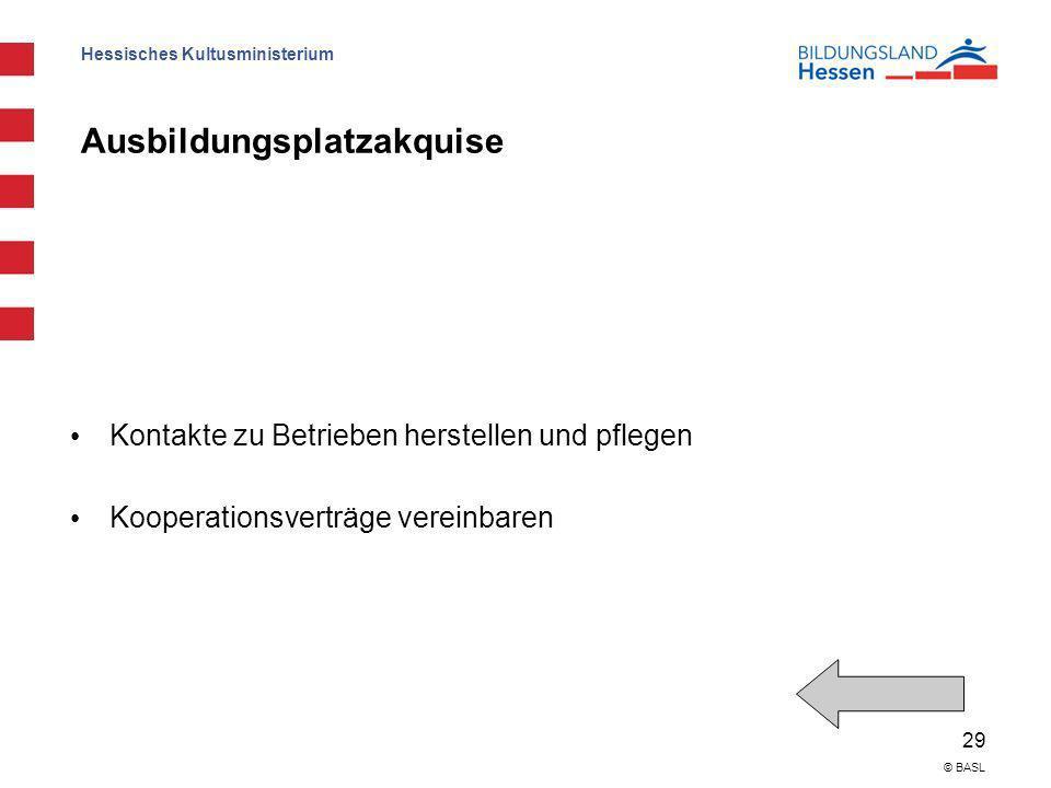 Hessisches Kultusministerium 29 © BASL Ausbildungsplatzakquise Kontakte zu Betrieben herstellen und pflegen Kooperationsverträge vereinbaren