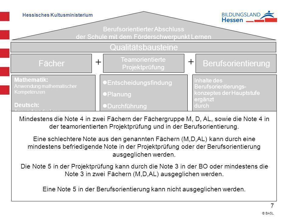 Hessisches Kultusministerium 7 © BASL Voraussetzungen zum Bestehen: Berufsorientierter Abschluss der Schule mit dem Förderschwerpunkt Lernen Qualitäts